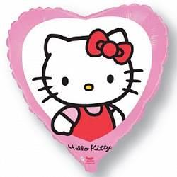 Воздушный шарик Сердце, Котенок с бантиком, Розовое, 46 см ...